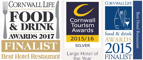 Silver Large Hotel of the Year 2015 - Cornwall Tourism Awards / Cornwall Food and Drink Awards Finalist 2015 and 2017