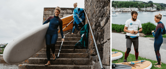 Gylly Adventures - paddle board yoga instructors Lauren and Andy - Falmouth Cornwall